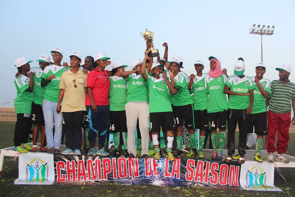 Djiboutian Army women's football team celebrate for the trophy on Sunday 22nd of May 2016