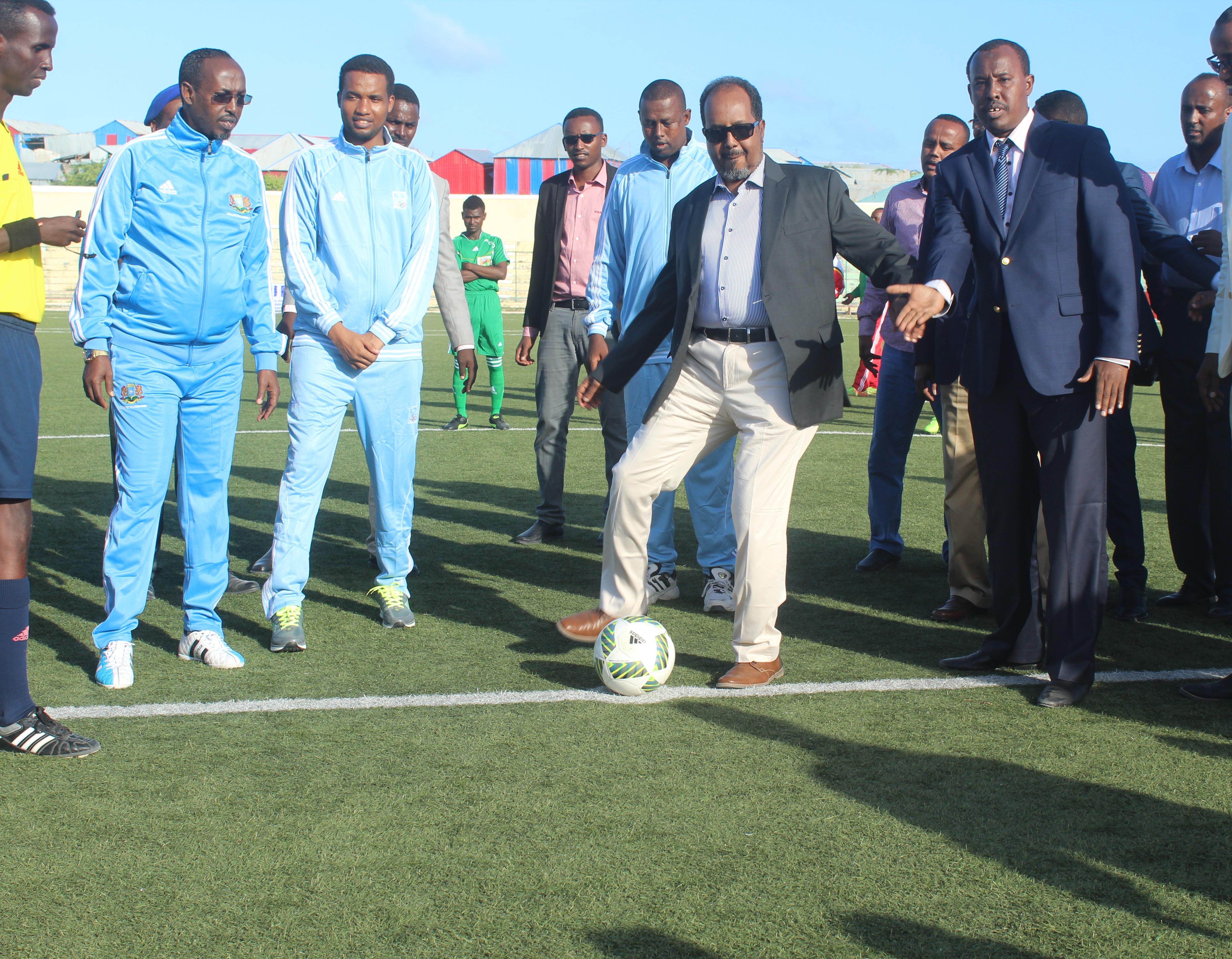 Somali President Prof Hassan Sheik Mahmoud officially opens the first inter-state football tournament