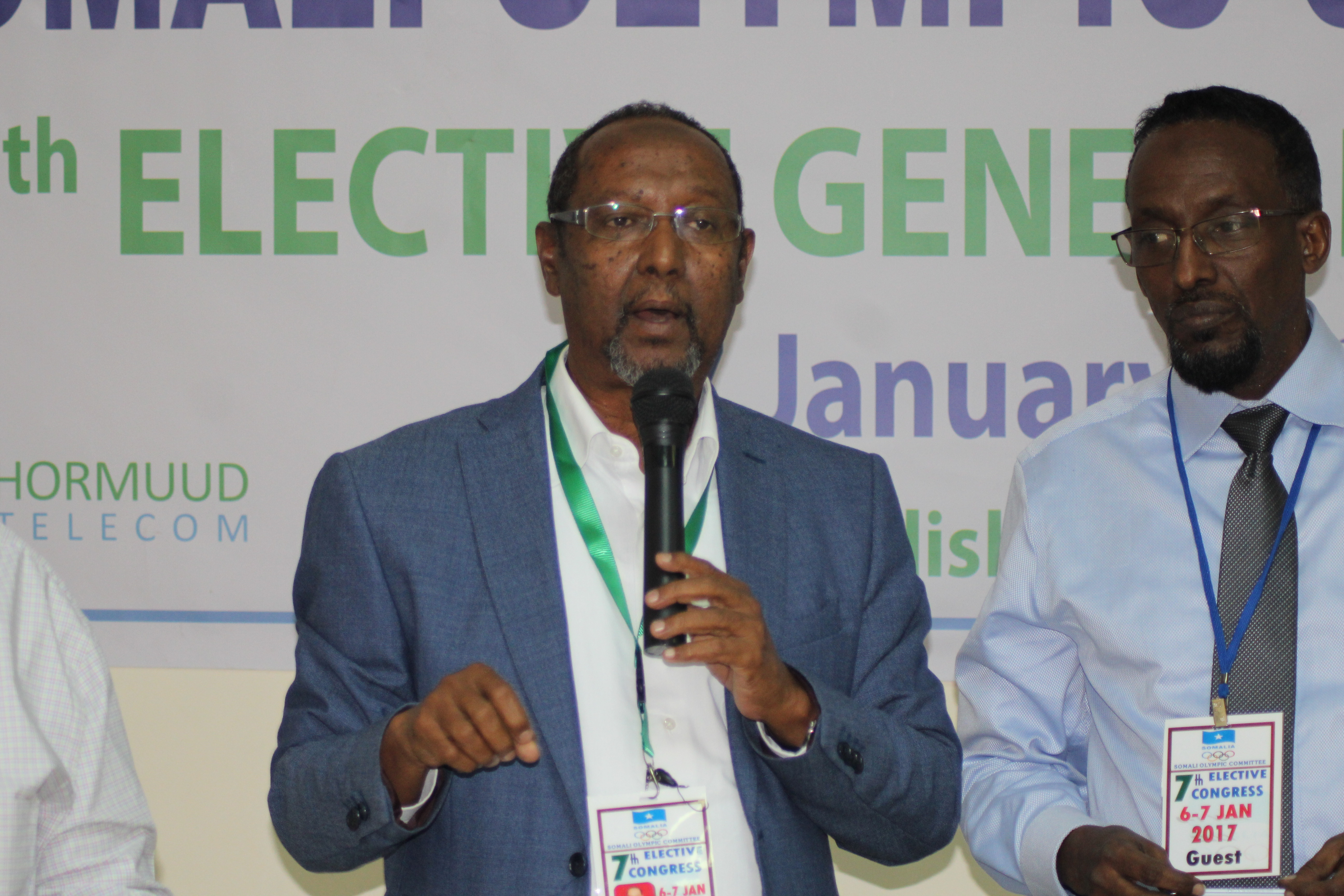 Somali NOC president Abdullahi   Ahmed Tarabi addresses after re-election on Janaury 7 2017 PHOTO by Hussein Hadaafow SSPA Executive Committee Member