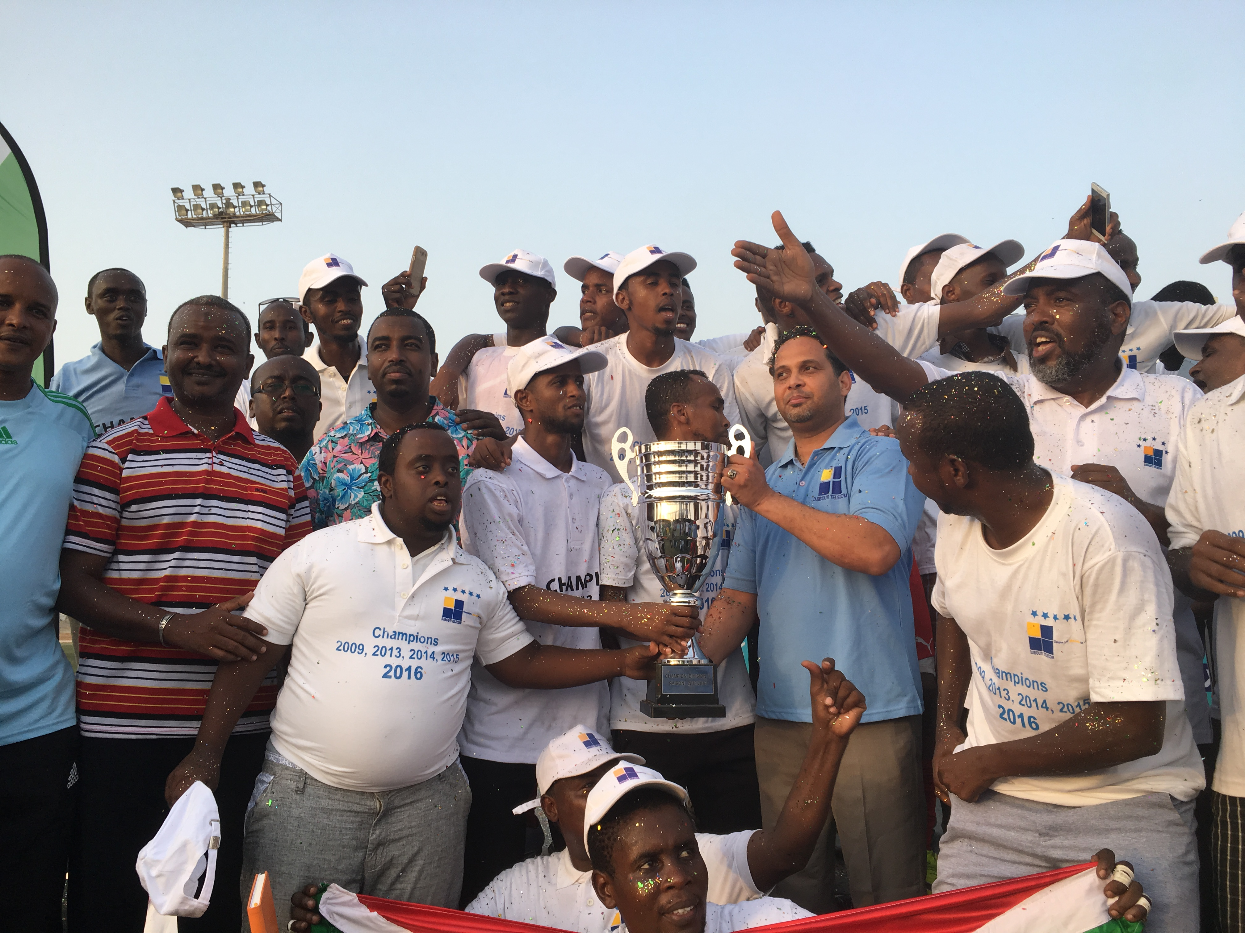 Djibouti Telecom FC celebrate their 4th successive national league title on Friday 20th of May 2016