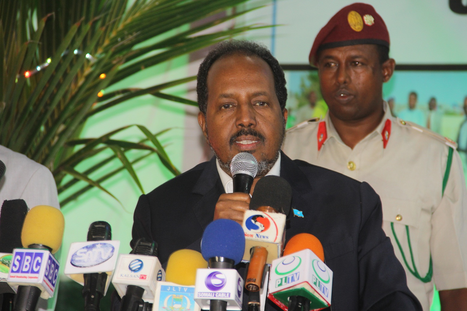 Somali president Prof Hassan Sheik Mahmoud addresses at the closing ceremony for the First Inter-state football tournament on Wednesday evening, 27 July 2016