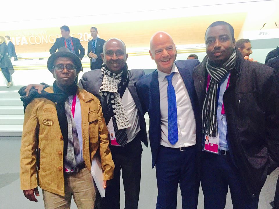 Djibouti FA boss Souleiman Waberi [R] and FIFA president Gianni infantino 2nd from right with other officials. Photo CECAFA Media