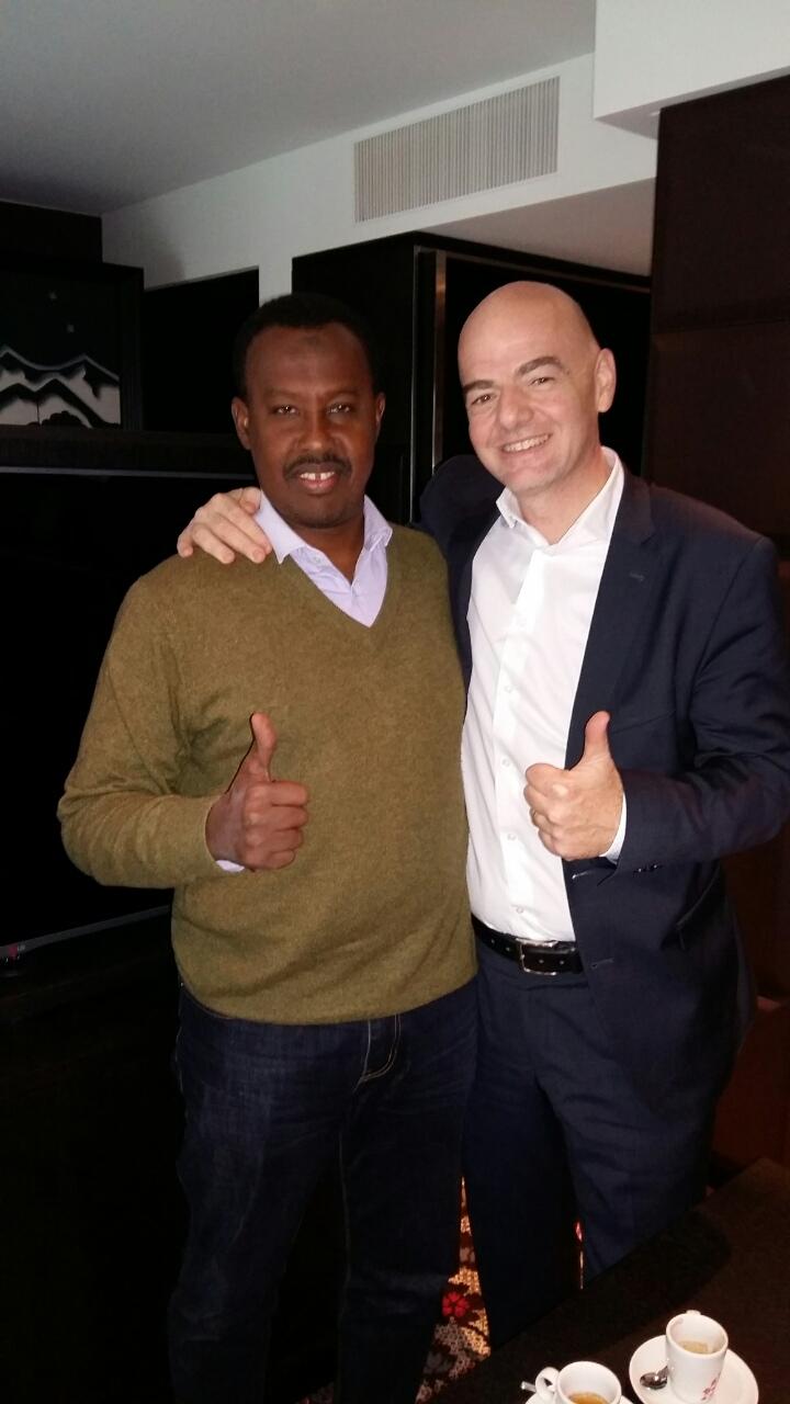 FIFA president Gianni Infantino (R) with Somali FA president Abdiqani Said Arab: Photo SFF Media